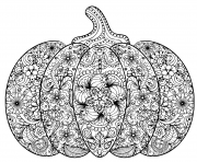 Coloriage citrouille halloween zentangle pour adulte
