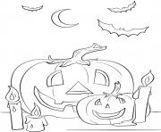 halloween citrouille et chandelles octobre dessin à colorier