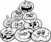 halloween plusieurs citrouilles emotions dessin à colorier