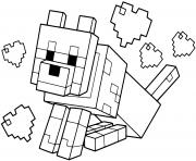 chien minecraft avec des coeurs dessin à colorier