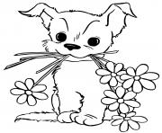 jeune chien chiot avec des fleurs dessin à colorier