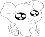 Coloriage petit chien adorable kawaii gros yeux