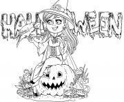 sorciere texte halloween dessin à colorier