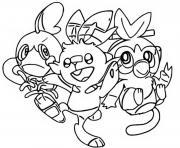 pokemon epee et bouclier starters pokemon bouclier et epee dessin à colorier