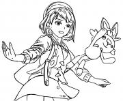 pokemon epee et bouclier flambino avec son dresseur dessin à colorier