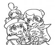 pokemon epee et bouclier larmeleon flambino et ouistempo et leurs dresseurs dessin à colorier