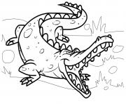 Coloriage crocodile mechant dans son habitat naturel