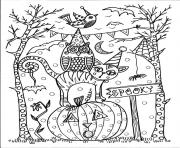 Coloriage halloween 31 octobre hibou chat citrouille
