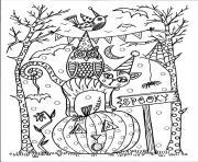 halloween 31 octobre hibou chat citrouille dessin à colorier