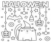 joyeuse halloween avec chat citrouille et decorations dessin à colorier