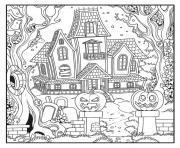 maison hantee avec des citrouilles epeurantes dessin à colorier