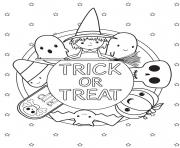 Coloriage trick or treat halloween kids