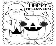 joyeuse halloween avec fantome citrouille et chat dessin à colorier