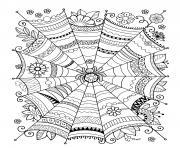 zentangle araignee adulte halloween dessin à colorier