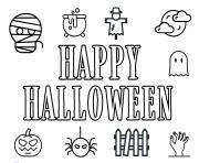 happy halloween icons funs dessin à colorier