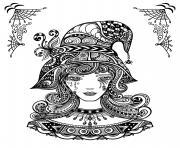 sorciere zentangle pour adulte difficile halloween dessin à colorier
