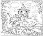 hibou magique et puissant halloween dessin à colorier