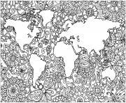 planete terre en fleurs dessin à colorier