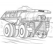 Coloriage caterpillar mining camion