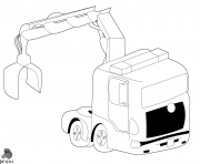 camion with crane dessin à colorier