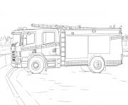 fire camion scania dessin à colorier