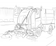 street sweeper dessin à colorier