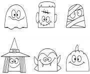 personnages de halloween amusants tetes dessin à colorier
