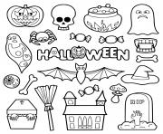 halloween objets pour enfants dessin à colorier