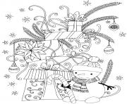 bonhomme de neige avec des cadeaux de noel dessin à colorier