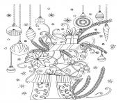 cadeaux de noel avec des boules dessin à colorier