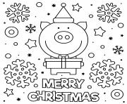 cochon mignon qui souhaite joyeux noel dessin à colorier