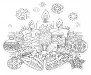 chandelles et theme de noel boules dessin à colorier