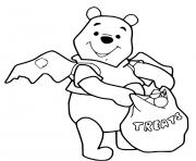 winnie the pooh halloween recolte des bonbons dessin à colorier