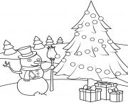 bonhomme de neige avec un sapin et des cadeaux de noel dessin à colorier