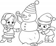 les enfants construisent un bonhomme de neige dessin à colorier
