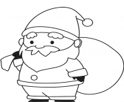 pere noel et son sac de cadeaux dessin à colorier