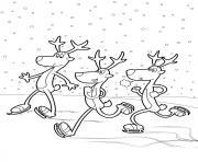 trois rennes de noel Danseuse Fringant Comete dessin à colorier