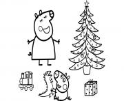 la famille peppa pig 25 decembre noel dessin à colorier