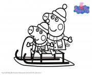 noel en famille peppa pig dessin à colorier