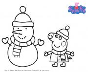 peppa pig noel pour hiver dessin à colorier