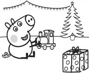 george joue avec son cadeau de noel un train dessin à colorier