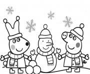 peppa pig noel avec un bonhomme de neige dessin à colorier