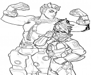 Coloriage overwatch zarya et tracer
