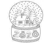 Coloriage 2020 toy glass snow globe house