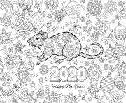 Coloriage nouvel an 2020 rat and festive objects image pour calendar