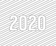 2020 bonne annee Simple Lines dessin à colorier