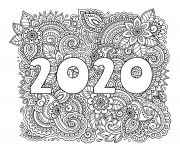 Coloriage nouvel an 2020 highly dandailed decorative floral pattern