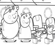 Peppa Pig famille se dirigent vers leurs sieges de lavion dessin à colorier