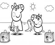 Peppa Pig en Vacance avec valises dessin à colorier
