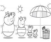 Peppa Pig sur la plage pour profiter du soleil dessin à colorier